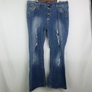 Angels Distressed 7 Ripped Bootcut Jeans